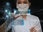 Doctor working virtual interface — Stock Photo