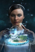 Engineer and holographic city — Stock Photo