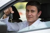 Vehicle buyer inside new car — Stock Photo