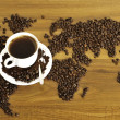 Dramatic photo of world map made of coffee beans. — Stock Photo #5911754