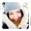 Three Portraits of young beautiful girl outdoors in winter havin — Stock Photo #8660253