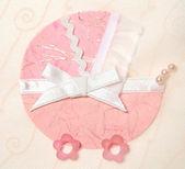Decorative pink pram — Stock Photo