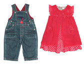 Children's clothes, for girl and boy — Stock Photo
