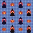 Halloween pattern with witches and pumpkins - Stock Vector