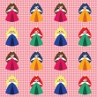 Pattern with princesses - Stock Vector
