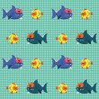 Pattern with sharks and fishes - Stock Vector