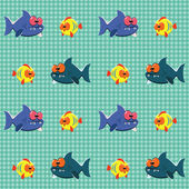 Pattern with sharks and fishes — Stock Vector