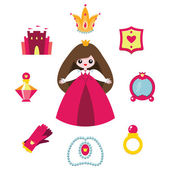 Princess design elements set. — Stock Vector
