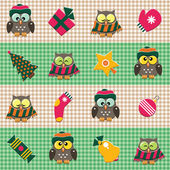 Checked pattern with christmas decorations and cute owls. — Stock Vector
