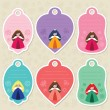 Cute princess gift tags - Stock Vector