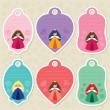 Cute princess gift tags — Stock Vector