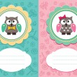 Stock Vector: Baby cards with owlet