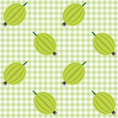 Checked pattern with gooseberry — Stock Vector