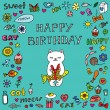 Stock Vector: Вirthday card with cat