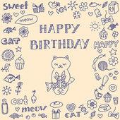 猫と落書きの誕生日カード — ストックベクタ