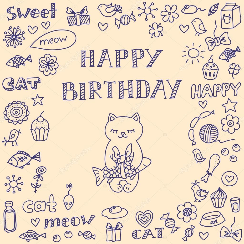 涂鸦与猫的生日贺卡