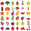 Stock Vector: Fruits ans vegetables set