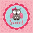 Stock Vector: Cute card with owlet.