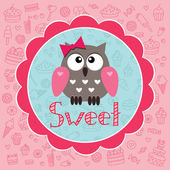 Cute card with owlet. — Stock Vector