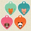 Cute gift tags with animals — Stock Vector