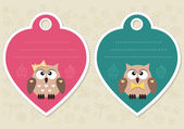 Cute gift tags with little owls — Stock Vector