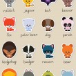 Cute animals set — Imagen vectorial