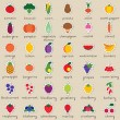 Stock Vector: Set of fruit and vegetable stickers