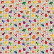 Seamless fruit and vegetable pattern — Imagen vectorial