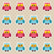 Polka dot pattern with cute owls — Stock Vector