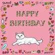 Birthday card with cat — Stock Vector