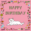 Stock Vector: Birthday card with cat
