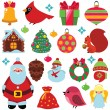 Funny christmas set — Stock Vector