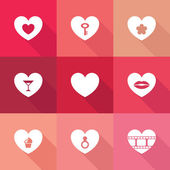 Heart icon set — Stock Vector