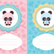 Stock Vector: Baby cards with panda