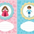 Stock Vector: Baby cards with prince and princess