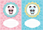 Baby cards with panda — Stock Vector
