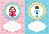 Baby cards with prince and princess — Stock Vector
