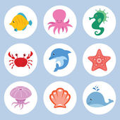 Sea animals set — Stock Vector