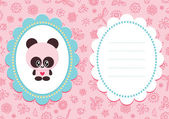 Pink baby card with panda — Stock Vector