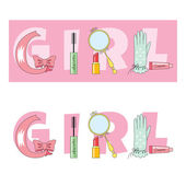 Spelling the word girl — Stock Vector