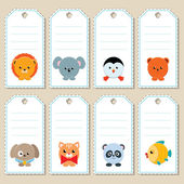 Gift tags with animals — Stock Vector