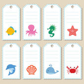 Gift tags with sea animals — Stock Vector