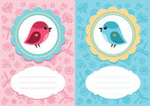 Baby cards with bird — Stock Vector