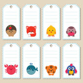 Animal gift tags — Stock Vector
