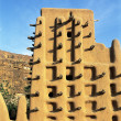 A front view of a mud mosque in a Dogon village in Mali — Stock Photo