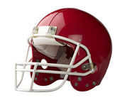 Red American football helmet isolated on a white background with — Stock Photo