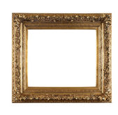 Old golden frame on white background — Stock Photo