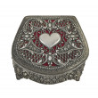 Closed Red Heart pewter jewelry box with clipping path — Stock Photo