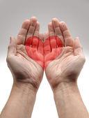 Heart Shape in male hands — Stock Photo