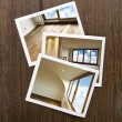 Polaroid-Wooden Floor and windows Boards — Stock Photo